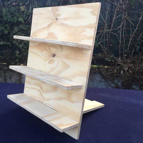modular display shelves in plywood