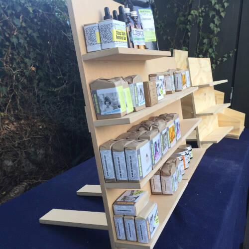 modular display shelves with stock