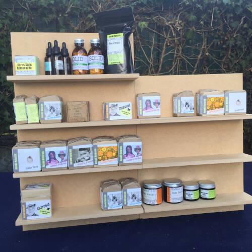 modular shop display shelves with stock